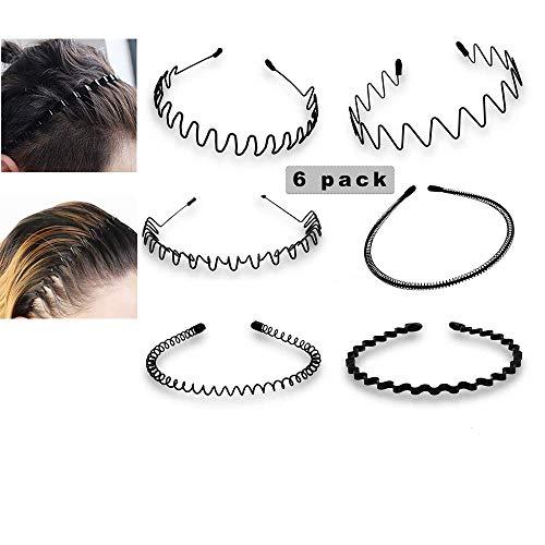6 Stück Unisex Metall Haarband, Schwarz Spring Wave Haarband, Rutschfestes Elastisches Stirnband Haarbänder Haarreifen Haarschmuck Stirnband Zubehör für Outdoor Sports Yoga