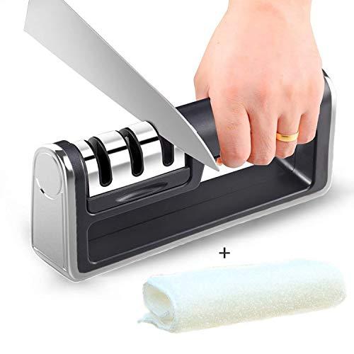 Messerschleifer Messerschärfer Messerschaerfer Küchenmesserschärfer 3 Stufen Messer Schärfen, Wiederherstellung und Polieren Klingen für Edelstahl und Keramikmesser Aller Größen+Abwischen Tuch
