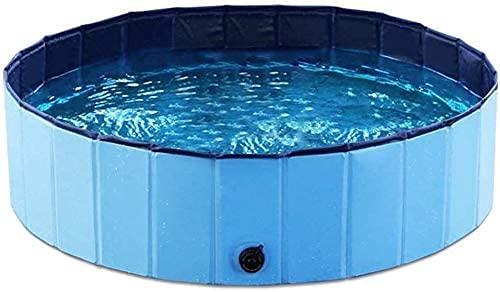 ZALUJMUS Bañera plegable para perros, de plástico duro, bañera plegable de PVC, piscinas exteriores para perros, gatos y niños (rojo, diámetro: 80 cm; altura: 20 cm)
