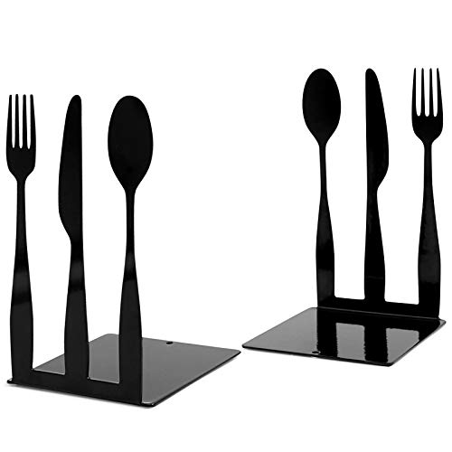 Cookbook Bookends, Kitchen Fork Knife Spoon Metal Decorative Book Ends Support for Shelves , Cookbook Storage Modern Functional Kitchen Book Stoppers Chef Housewarming Gift (1 Pairs)