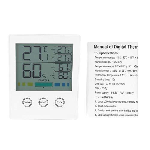 Temperatur-Feuchtigkeitsmesser, CH-910 Elektronische Digitalanzeige Temperatur-Feuchtigkeitsmesser mit Touchscreen Innen