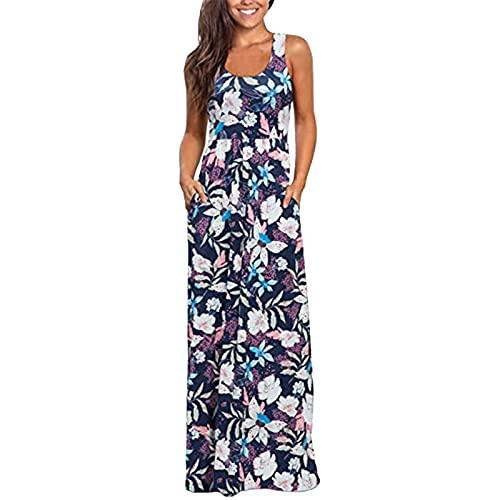 FRMUIC Klänningar för kvinnor, långklänning för kvinnor, maxiklänning ärmlös plusstorlek sommarfest Cami lång klänning solklänning med fickor, nr 1, XXL