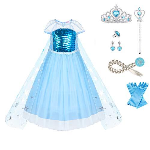 URAQT Elsa Costume, Set da Principessa Elsa Corona Bacchetta Guanti Treccia, Elsa Costume di Cosplay Party Halloween Costume Abito delle Ragazze di Natale Vestito Fantasia,100cm