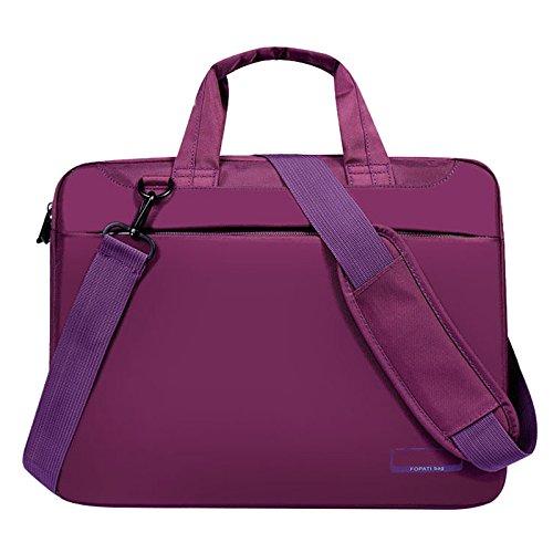 Tiamu Laptop bag case 14 inch Nylon airbag shoulder handbag computer bags Waterproof Messenger Women men Notebook bag(Purple No Airbag)