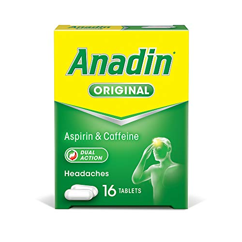 Anadin Original Pain Relief Tablets - Aspirin & Caffeine Headache Tablets - Pack of 16