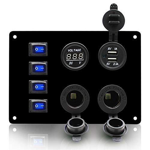 Interruptores basculantes de coche de barco Impermeable 4 marina hembra de panel interruptor basculante 3.1A dual USB + voltaje digital kit panel de interruptor de la pantalla para camión de barco sed