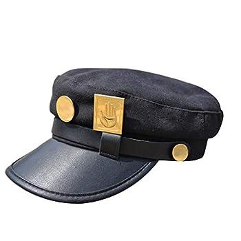 Ani·Lnc Jojos Hats JoJo s Bizarre Adventure Hat Jotaro Kujo Hat Visored Props Peaked Women Baseball Caps Black