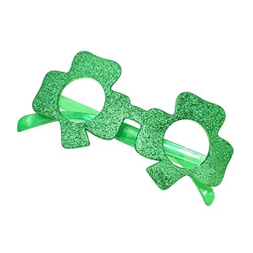 VALICLUD Día de San Patricio Marco de Gafas Verdes Gafas de Sol Verde Esmerilado Brillante Shamrock Forma Accesorios Gafas para Mujeres Niños Regalos