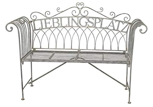 dekorative ausgefallene Garten-Bank Sitz-Bank Lieblingsplatz Metall antikgraue Vintage Shabby Optik Landhaus-Stil nostalgisch