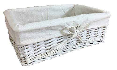 Pelican - Cestos de mimbre Cestas forradas de algodón hechas con tallos enteros de sauce Disponibles en varios tamaños y colores, tela, Blanco, Medium