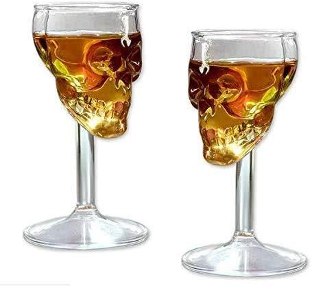 2 x 75 ml Kreativer Totenkopf-Skelett-Weingläser, Weingläser, Weingläser, Rotwein, Cocktail, Whisky, Bier, Champagner
