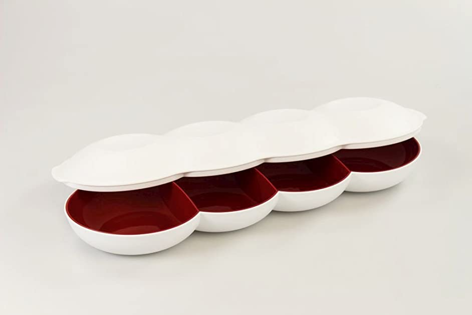 TUPPERWARE Allegra Perl serving plate with cover (red-white)