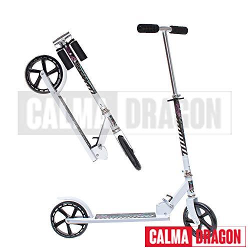 Calma Dragon Patinete YX-S17 Ruedas Grandes 200mm diametro, para Niños y Adultos, Scoter (Blanco)
