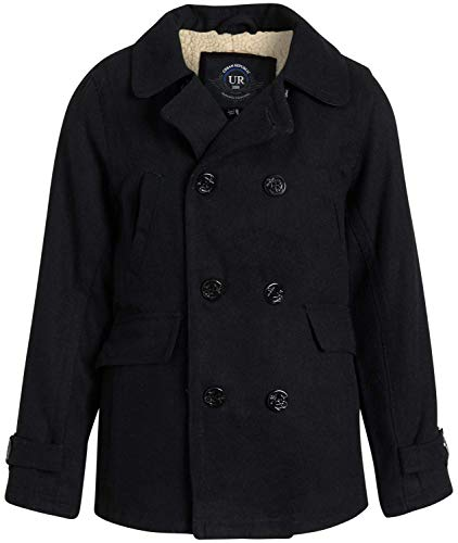 Urban Republic Boys' Wool Blend Peacoat with Faux-Fur Lining and Flap Pockets