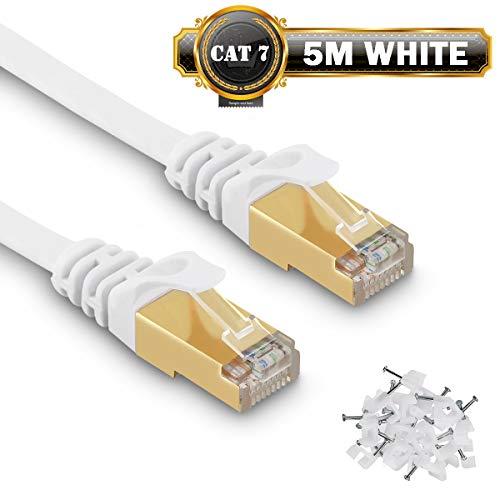 5m Cavo di Rete Cat 7 Cavo LAN Ethernet Gigabit Velocità S/STP 10Gbps 750Mhz Piatto Cavo patch LAN RJ45 per Xbox, PS4, router, Switch, Compatibile con CAT6a/CAT5/Cat6 - con Cable Clamps - Bianco