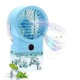 Air Cooler Humidificador Purificador Turbo-Ventilador Mini Aire Acondicionado Climatizador Portátil, Enfriador temporizadores, 3 velocidades con LED de 7 colores para el hogar y la oficina (Lago azul)