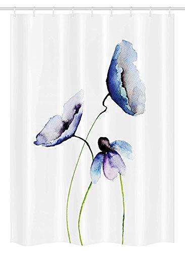 FANCYDAY Aquarell-Blumen-Stall-Duschvorhang, abstraktes Mohnblumen-Blüten-einfaches künstlerisches Zusammensetzungs-Bild, Lavendel-blaues Grün