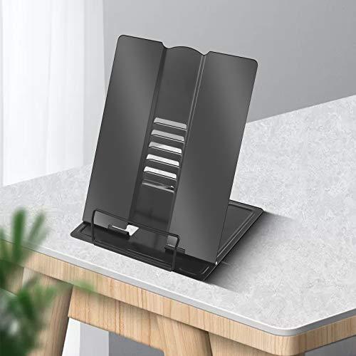 Large Desk Book Stand Metal Reading Rest Book Holder Adjustable Document Cookbook Holder Portable Foldable Lightweight Bookstands-Textbooks Tablet Music Books Recipe (Black)
