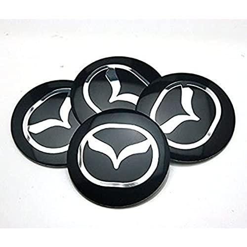 YOUGEYG 4X Cubierta Central Negra de 56,5 mm Cubierta de Cubo de aleación de Aluminio, Que Cubre el Estilo de Centro Elevado, más Adecuada para Las Ruedas Mazda 2 3 6 ATENZA AXELA CX-5 CX-7 CX-8