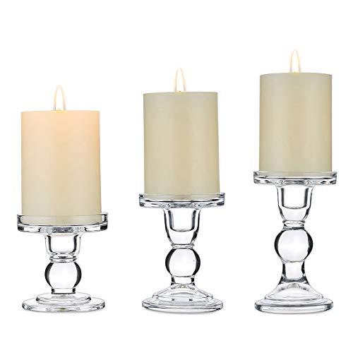 Nuptio 3er Set Klarglas-Kerzenhalter für 75mm Stumpen und Kegelkerze, 2 Verwendet Kerzenhalter Mittelstücke für Hochzeitsdekoration, Kerzenhalter Stabkerze Kerzenständer für Weihnachten Deko