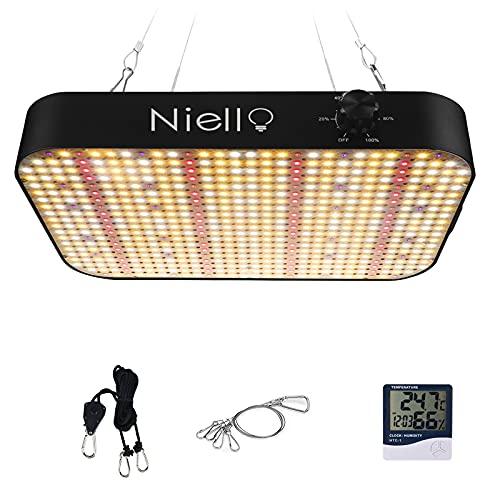 Lampada per piante a LED Niello, 600w con 588 LED coltivano la luce per piante da interno, luce per piante a spettro completo con funzione ghirlanda dimmerabile per VEG, fiori