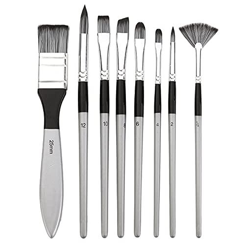 GLJYG Set van 8 kunstpenselen, multifunctionele nylon haarborstels, professionele penselen voor kunstenaars, zilver…