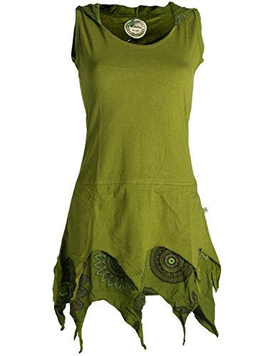 Vishes - Alternative Bekleidung - Zipfelige Elfentunika - im Lagenlook mit Blumen Bedruckt Olivegrün 38 (M)