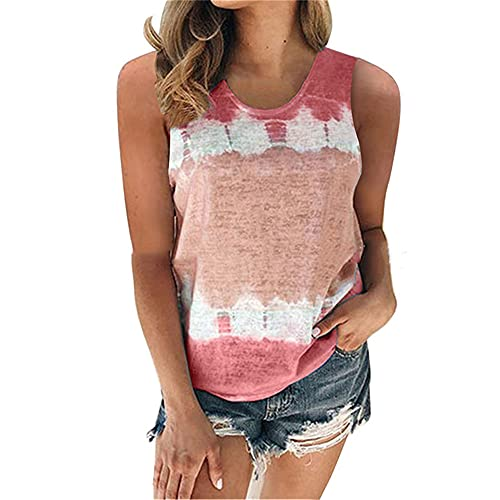 WAQD Women's Summer Tie-Dyed Vest Tank Tops Sleeveless Camisole Tee Shirts Ladies Athletic Running Gym Sportwear Casual Loose Sleeveless Blouse T Shirts Women Vest Tops Sleeveless T-Shirt Wine Red