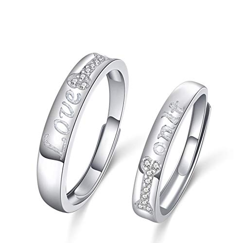 Cenliva 4MM Wedding Ring, Unique Promise Rings for Couples Engrave Love Onlt with Bone Inlaid Cubiz Zirconia