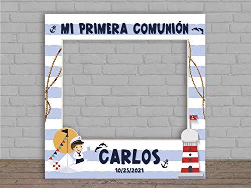 Photocall en Cartón para Comunión Marinero Personalizado   100x100cm   Photocall Económico y Original   Photocall Troquelado