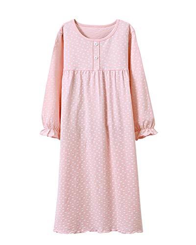 DianShaoA Kinder Schlafanzüge Prinzessin Nachthemd Für Mädchen Langarm Tupfen Drucken 3-12 Jahre Pink 160