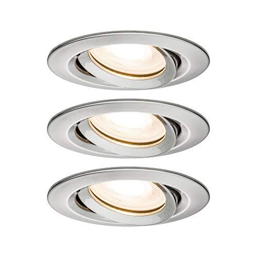 Paulmann 92900 Einbauleuchte LED Nova Einbaustrahler rund Spot IP65 strahlwassergeschützt 7W 3er-Komplettset inkl. GU10 Leuchtmittel Eisen schwenkbar