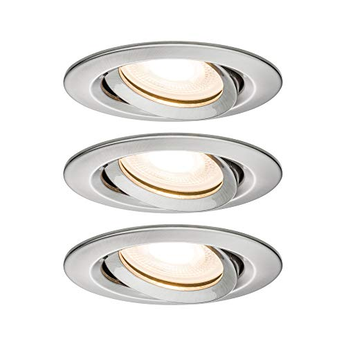 Paulmann Leuchten Paulmann 92900 LED Nova Einbaustrahler rund Spot IP65 strahlwassergeschützt 7W 3er-Komplettset inkl. GU10 Leuchtmittel schwenkbar Einbauleuchte, Aluminium, 7 W, Eisen gebürstet