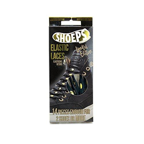 Shoeps Herren Elastic 14-teilige Schnürsenkel, Black Gold Button, Regular
