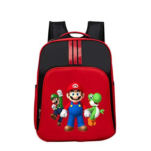 Super Mario Daypacks Exquisite Rucksack Grundschule Tasche für Mädchen Jungen Cartoon Muster Reise Sporttasche (Color : Red01, Size : 32 X 14 X 40cm)