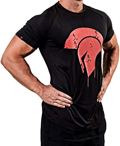Satire Gym Fitness T-Shirt Herren - Funktionelle Sport Bekleidung mit Sparta Motiv - Geeignet Für Workout, Training & Spartaner - Slim Fit (Black - Spartan Side Head, L)
