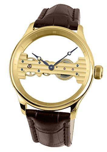 Davis – 1701 – herenhorloge, mechanisch, staal, geelgoud, uurwerk baguette – box van staal, armband van leer, bruin