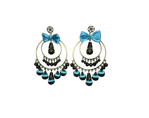 Pendientes originales para trajes de Flamenca, faralaes, sevillana. Varios Modelos. (Lazo Azul)