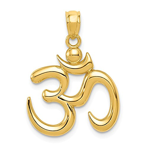 14k Yellow Gold Om Symbol Pendant Charm Necklace Sport Yoga Fine Jewellery For Women Mothers Day Gifts For Her