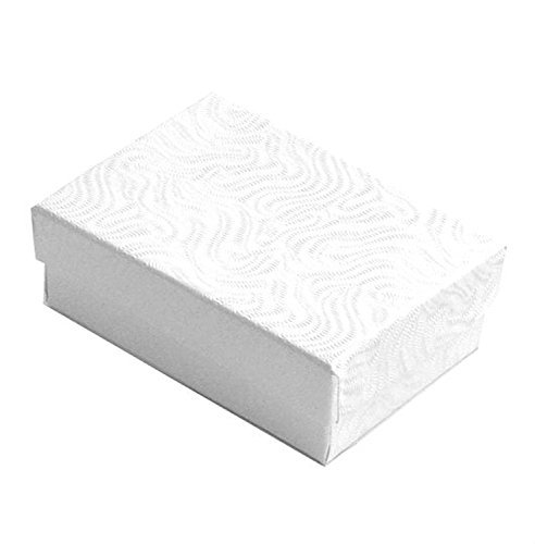 Lot of 12 pcs 3 1/4 x 2 1/4 x 1 White Swirl Cotton Filled Jewelry Boxes by Tioneer