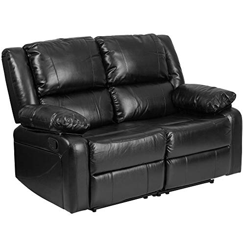 Flash Furniture Harmony Series Black LeatherSoft Loveseat with Two Built-In Recliners