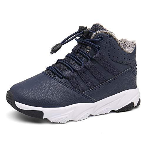 Kinderstiefel Jungen Mädchen Winterschuhe Warm Gefüttert Sneaker rutschfeste Stiefel Leichte Wanderstiefel Blau EU26=CN27