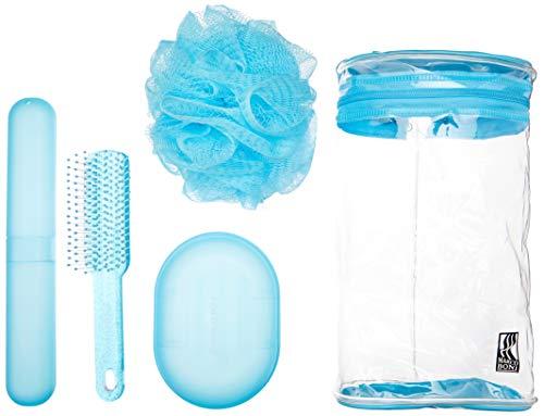 Kit Higiene Pessoal, Escova para cabelo, Esponja para Banho, Saboneteira, Porta Escova Dental, Necessaire, 6082, Marco Boni, Cores sortidas, 5 itens