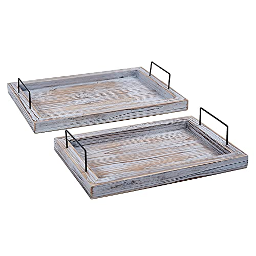RHF Vintage Serving Tray, Rustic Wood Rectangular Tray Set, Ottoman Trays with Metal Handles, Platter for Breakfast, Lunch, Dinner, Drinks and Food, used in BBQ, Parties, Set of 2