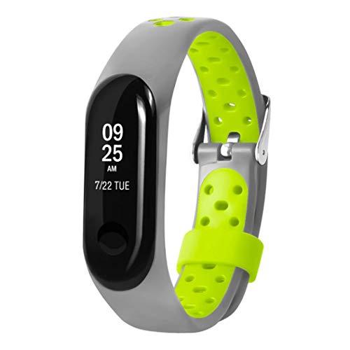 JiaMeng Correas para Xiaomi Mi Band 3 de Pulsera de Repuesto de Silicona Suave Reemplazo Ventilador Sport Soft Muñequera Correa Muñequera(Verde Claro,tamaño Libre)