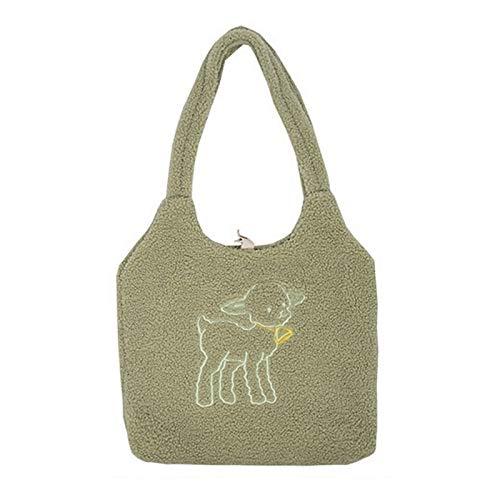 Zfwlkj Canvas bag Women Fabric Shoulder Bag Canvas Handbag Tote Large Capacity Embroidery Shopping Bag Cute Book Bags For Girls (Color : Green sheep)