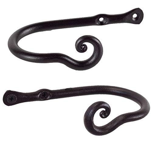 RTZEN Small Decorative Curtain Holdbacks | Set of 2 | Wrought Iron Window Drapery Tiebacks | Handmade Rod Drape Tieback Hooks (Black) | Crafted Décor