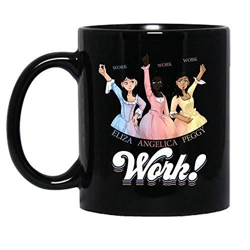 N\A Angelica Eliza y Peggy Trabajan Schuyler Sisters Hamilton Taza de cerámica Fresca Tazas de café gráficas Tazas Negras Tapas de té Novedad Personalizada 11 oz