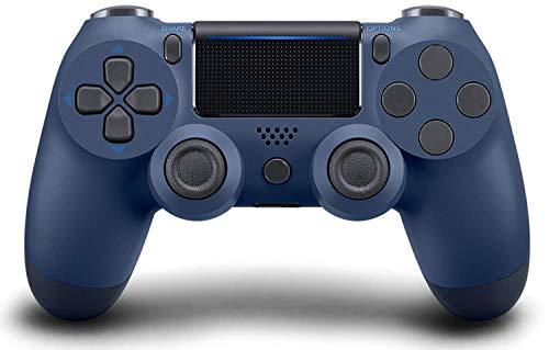 Mando Inalámbrico para PS4, Mando para PS4/Pro/Slim/ PC, Controlador inalámbrico, Mando Inalámbrico Gamepad Doble Vibración Seis Ejes Mando Game/Turbo/ Puerto de Audio(azul marino)
