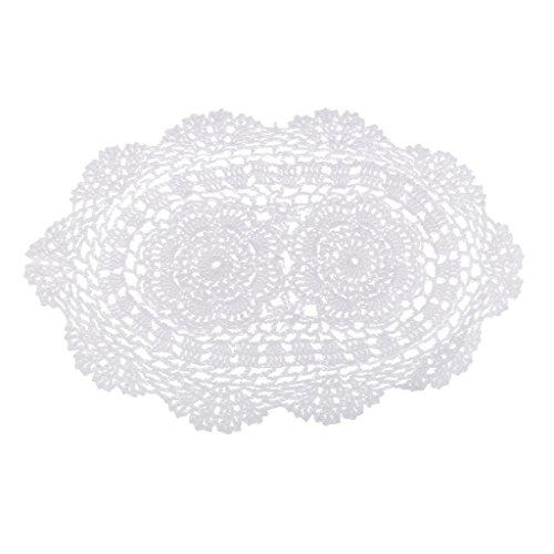 D DOLITY Formes Ovales Blanc Coton Au Crochet Dentelle Napperon Napperons Napperons Mat